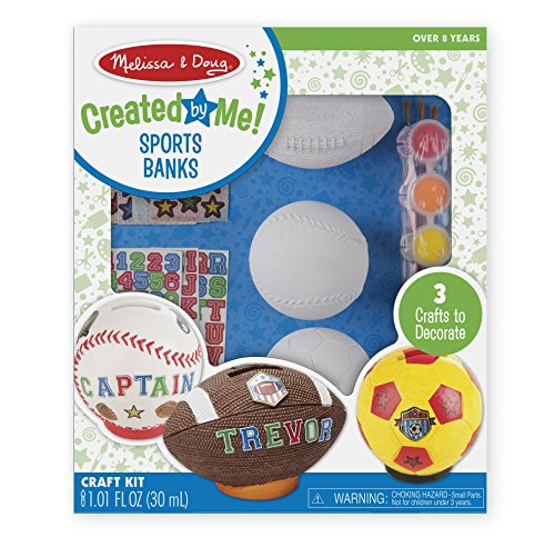 Melissa & Doug Decorate-Your-Own Sports Set Craft Kit - Soccer, Baseball, and Football Banks