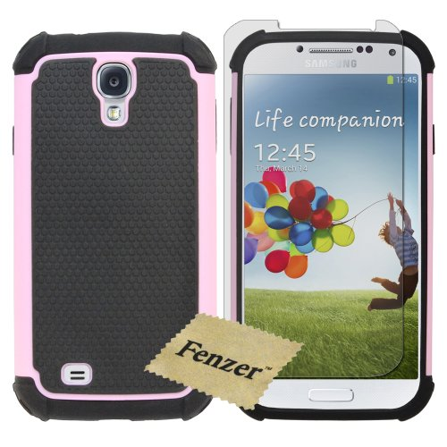 Pink Hybrid Rubber Matte Hard Case Cover for Samsung Galaxy S4 GS4 S 4 i545 i9500 i9505 l720 m919 r970 with Screen Protector (Hybrid Pink Case Galaxy S4)