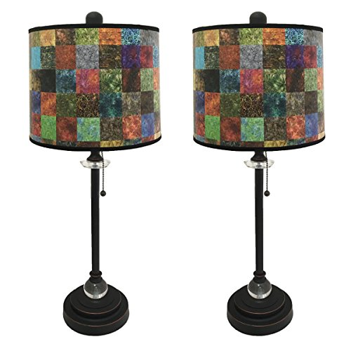 Royal Designs 28'' Crystal and Oil Rub Bronze Buffet Lamp with Colorful Patchwork Design Hard Back Lamp Shade, Set of 2 by Royal Designs, Inc