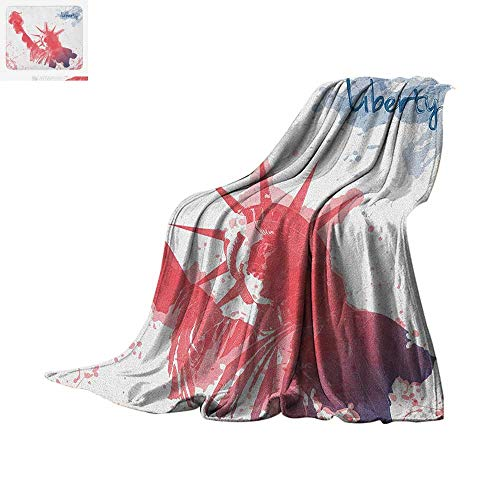 4th of July Throw Blanket Watercolor Lady Liberty Silhouette with Paint Splashes Independence Warm Microfiber All Season Blanket for Bed or Couch 62