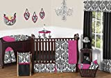 Designer Hot Pink, Black and White Isabella Baby Girls Bedding 11 pc Crib Set without bumper