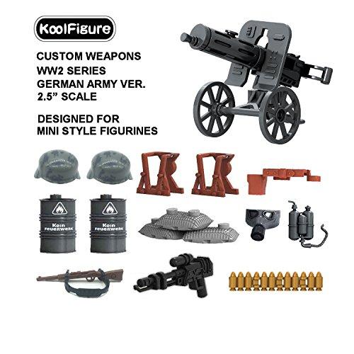 German Heavy Machine Gun - Koolfigure™ Custom WW2 Weapons Set Designed for Minifigures Toys, 2.5