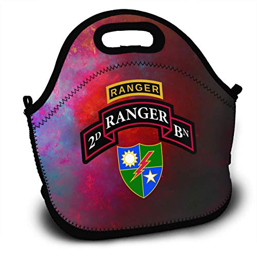 (US Army Retro 2nd Ranger Battalion Lunch Bag Tote Lunchbox With Handle Strap)