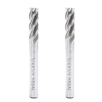 5 Pcs HSS CNC 4-Flute 1//4 Inch Shank Milling Cutter Drill Bit End Mill Tool Set