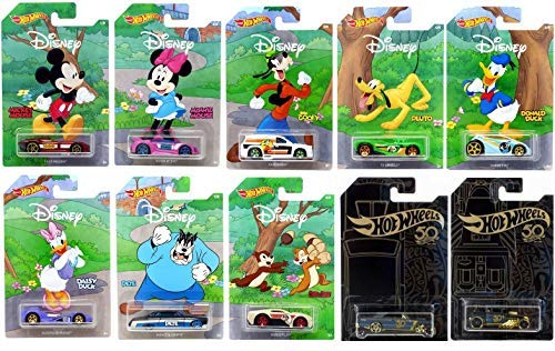 Disney 50th Anniversary - Hot Wheels 2019 Disney 90th Anniversary 10 Pack Exclusive Car Set with Bonus Collectibles Toy Car