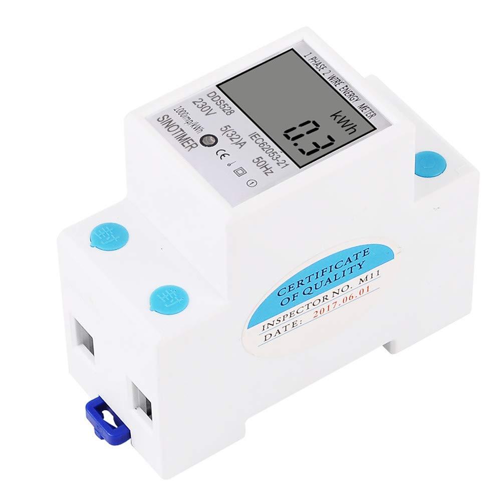 KKmoon Medidor el/éctrico digital monof/ásico de 2 hilos DIN Pantalla digital LCD Contador El/éctrico Monof/ásico Vat/ímetro Consumo de energ/ía Energ/ía kWh CA 230V 50Hz Montaje en riel de dos tipos