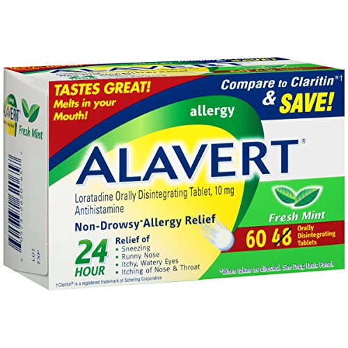 Alavert Allergy 24-Hour Relief (Fresh Mint Flavor Orally Disintegrating Tablets), Non-Drowsy, Antihistamine, 60 Count (Pack of 1) (Best Over The Counter Dog Allergy Medicine)