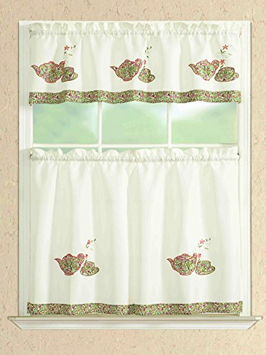 All American Collection Modern Embroidered 3pc Kitchen Curtain Set With Straight Valance (TEA POT)