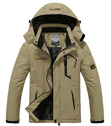 Pooluly Men s Waterproof Windproof Rain Snow Jacket Hooded Fleece Ski Coat 38d99a718