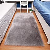 HUAHOO Faux Fur Sheepskin Rug Light Gray Kids Carpet Soft Faux Sheepskin Chair Cover Home Décor Accent a Kid's Room,Childrens Bedroom, Nursery, Living Room Bath. 4' x 6' Rectangle