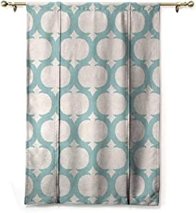 GugeABC Lush Decor Curtains Aqua Window Shades for Home Mesh Pattern with Curvy Figures Ancient Arabic Lattice Design Old Fashioned Pastel 48 x 72 Inches Seafoam Cream