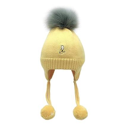 d8911828d59 Amazon.com   Inkach Baby Earflaps Hats Pom Poms Winter Warm Knit Hat  Crochet Hairball Beanie Skull Cap (Yellow)   Garden   Outdoor