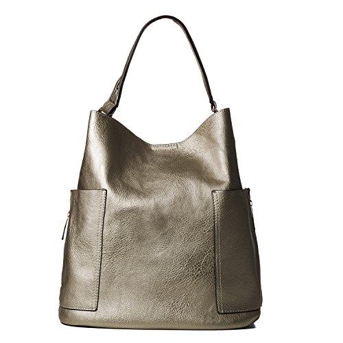 Silver Solid Handbag (Handbag Republic Women Handbag PU Leather Top Handle Bag Korean Fashion Tote Style With Side Zipper Pouch (Solid Dark Silver))