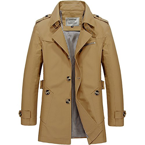 DAVID.ANN Men's Windbreaker Notch Lapel Single Breasted Coat,Dark Khaki,X-Large
