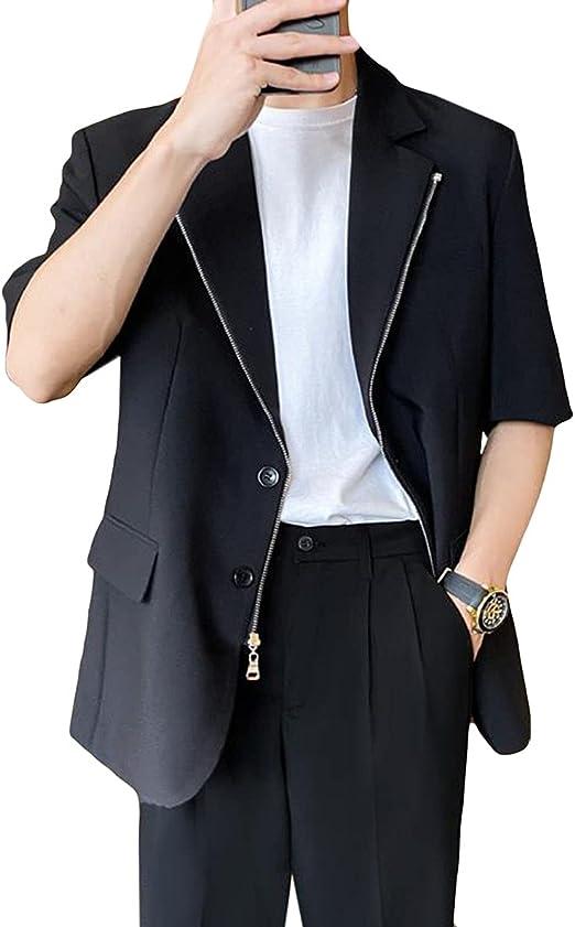 (ニカ)テーラードジャケット メンズ スーツジャケット サマージャケット 夏着 メンズ 七分袖 スーツ ジャンパー 薄手 ビジネス スーツ