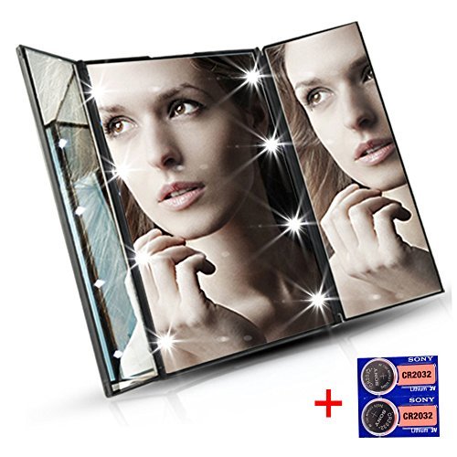 Tri-fold Led Lighted Makeup Mirror Vanity Comestic Mirrors Portable Compact Travel Mirror For Shaving, Dressing By Dahen (black)