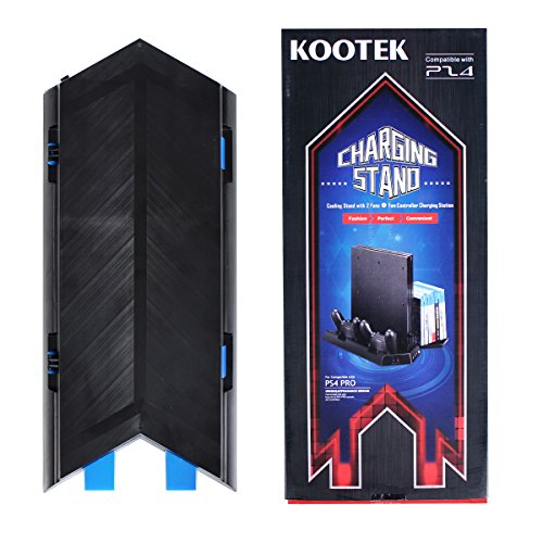 Kootek Vertical Stand for PS4 Pro with Game Storage and Cooling Fan Dual Controller Charger Station for Sony Playstation 4 Pro Dualshock 4 Controller ( Not for Slim / Regular PS4 )