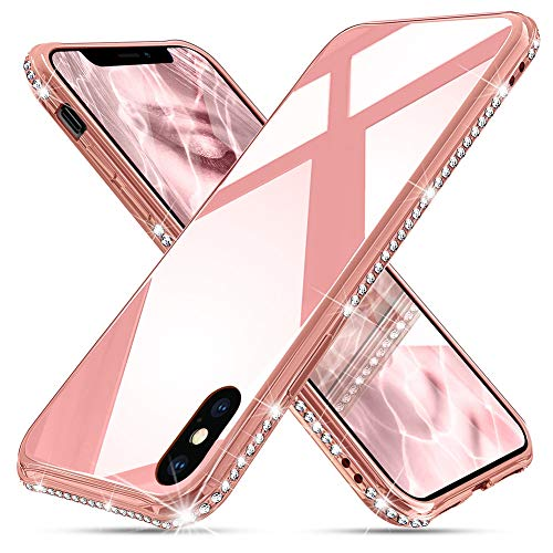 OCYCLONE iPhone Xs Max Case for Women Girl [ Tempered Glass ], Cute Pretty Glitter Diamond Rhinestone Bumper Protective Girly Glass Case for iPhone Xs Max 6.5 Inch for Girls Women - Rose Gold/Pink