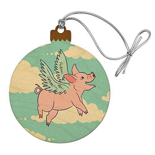 GRAPHICS & MORE Flying Pig in The Clouds Wood Christmas Tree Holiday Ornament