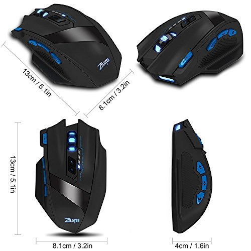 Portable Wireless Adjustable Computer Mouse - Ergonomic Precision Optical  Gaming Mice with USB Receiver, for PC, Laptop, Mac, Notebook, -Black by Zelotes (Image #4)