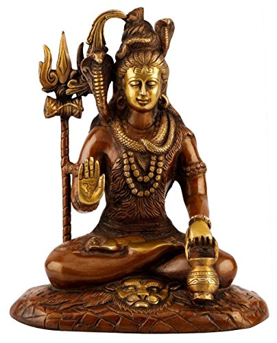 Brass Statue Bronze - Large Brass Bronze Statue of Lord Shiva - Antique Finish Shiv Idol - Hindu God of Trinity - 10 Inches Tall