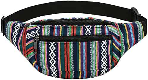 Kayhoma Boho Fanny Pack Stripe Festival Rave Retro Vintage Flat Bum Bags Travel Hiking Waist Belt Purse