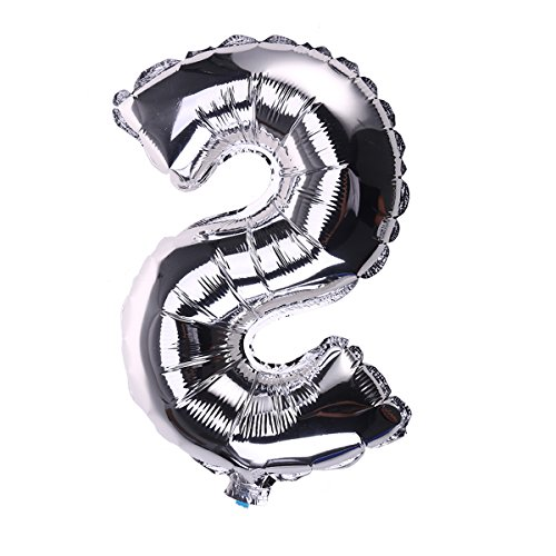 NUOLUX 16-inch Silver Letter S Shaped Aluminum Foil Balloons Alphabet Balloons for Wedding Birthday Party Decorations -