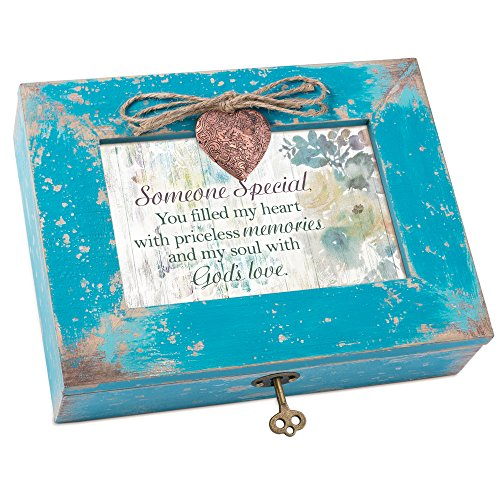 Cottage Garden Someone Special Heart with Love Teal Distressed Locket Music Box Plays Friend in ()