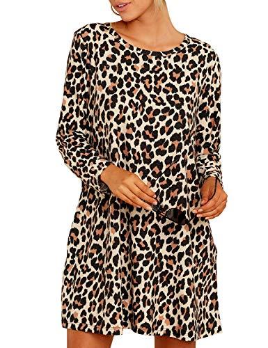 Ratilove Women's Leopard Print Mini Dress Fall Long Sleeve Cheetah Dresses for Women with Pockets S,Multicoloured