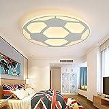 LITFAD Soccer-Patterned LED Ceiling Light Fixture in White for Boys Bedroom,Kids Room,Children Bedroom