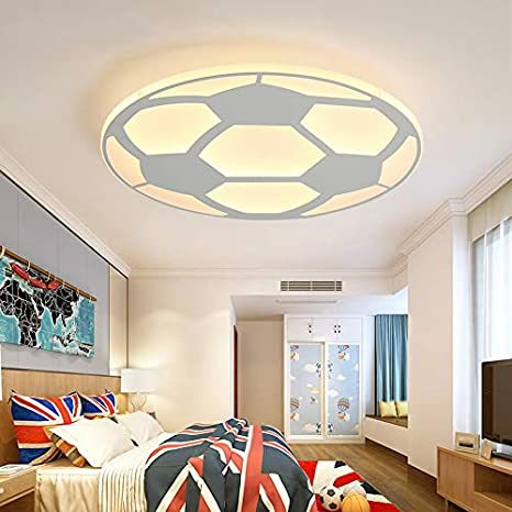 LITFAD Soccer-Patterned Dimmable LED Ceiling Light Fixture in White ...