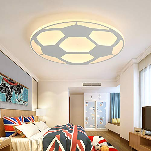 LITFAD Soccer-Patterned LED Ceiling Light Fixture in White for Boys Bedroom,Kids Room,Children Bedroom by LITFAD