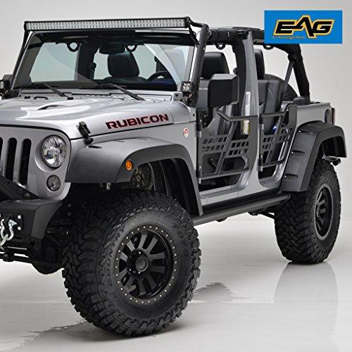 Right Rear Fender Flare - EAG 07-18 Jeep Wrangler JK Front + Rear Fender Flares Wheel Cover Pocket Rivet Style