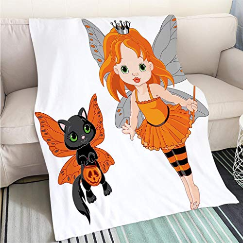 Creative Flannel Printed Blanket for Warm Bedroom Halloween Halloween Baby Fairy and Her Cat in Costumes Butterflies Girls Kids Room Decor Decorative Hypoallergenic Blanket for Bed Couch Chair -