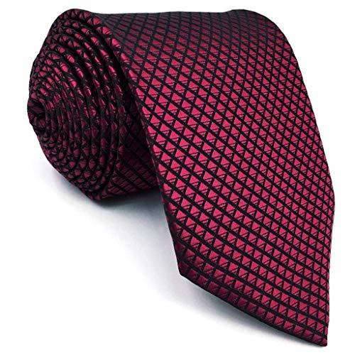 Shlax & Wing Extra Long Size Wedding Necktie Solid Color Red Crimson Mens Tie Silk