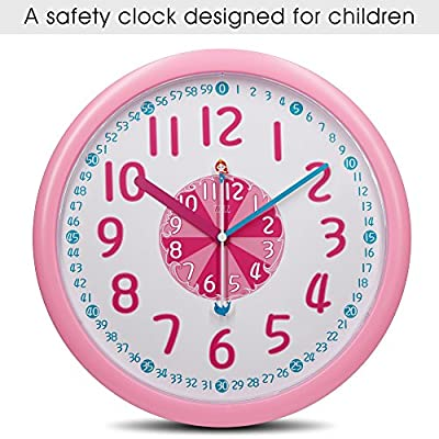 """12"""" Analog Kids Wall Clock with Large and Colorful Hands,Teach Children to Learn Time,Slient and Fun Seconds Hand Design for Kids Bedroon/Nursery Playroom/Classroom Decorative"""