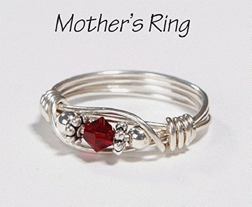 Mother's Ring 1 Birthstone: Personalized Sterling Silver Mom's Family Ring. One solitaire Swarovski Stone Crystal-Mother's Day, Christmas