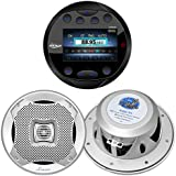 Lanzar AQR80B Round Aquatic Waterproof Marine Stereo In Dash Bluetooth Receiver - Black, 2x Lanzar AQ5CXS 5.25 Marine Water Resistant 2 Way 400 Watt Silver Speakers