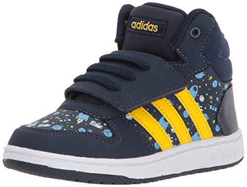 Mid Yellow Footwear - adidas Kids' Hoops Mid 2.0, Collegiate Navy/Eqt Yellow/Ash Blue, 3 M US Toddler