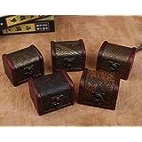 KELER Handmade Wooden Vintage Small Metal Lock Jewelry Treasure Case (Random Color)