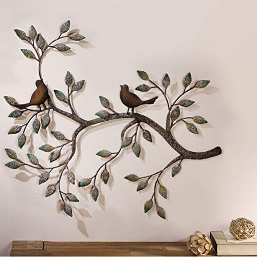 TANCHEN Tree of Life Leaves Bird Wall Hanging Ornament Metal Wall Art Sculpture Home Room Decorations