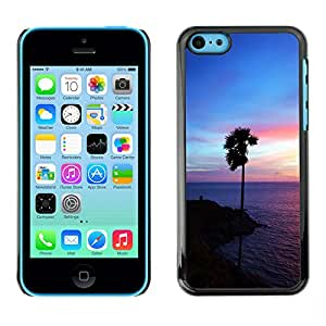 CASECO - iPhone 5C - Purple Glow Palm - Delgado Negro Plástico caso cubierta Shell Armor Funda Case Cover - Purple Glow Palma