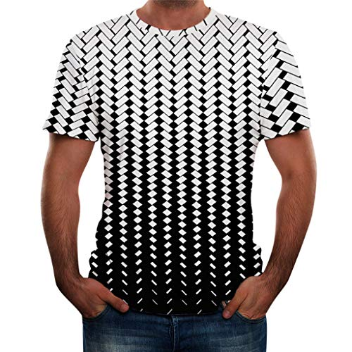 iHPH7 T-Shirts 3D Printed Funny Casual Cool Summer Short Sleeve Tees Fashion Round Neck Personalit Print Leisure Top Blouse Men (3XL,6- Black) -