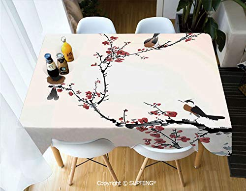 Square tablecloth Stylized Blooming Japanese Cherry Tree Watercolor Painting Effect Artistic Design Print (60 X 84 inch) Great for Buffet Table, Parties, Holiday Dinner, Wedding & More.Desktop decora ()