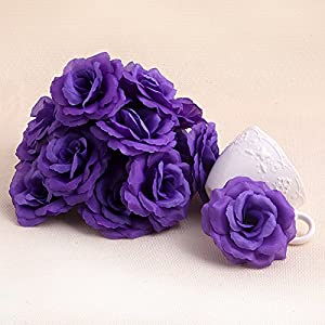 Arich 20pcs Roses Artificial Silk Flower Heads DIY Small Bud Party Wedding Home Decor (Deep Purple) 9