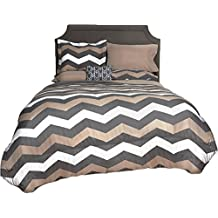 Beco Home Bedding Collection: 8 Piece Bed-in-a-Bag Comforter Set, Chevron (Grey/Taupe), King