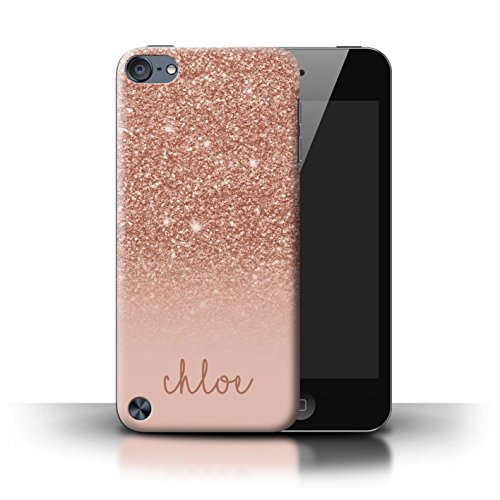 (Personalized Custom Glitter Effect Case for Apple iPod Touch 5/Rose Gold Design/Initial/Name/Text DIY Cover)