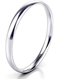 10k white gold 2mm plain dome wedding band ring - Wedding Rings Amazon