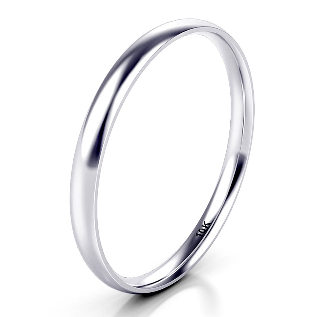 Sz 7.0 Solid 10K White Gold 2MM Plain Dome Wedding Band Ring by Kobelle