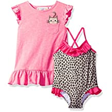 Wippette Baby Girls Cheetah Print Swimsuit Dress Beach Cover Up, Knockout Pink, 0-6 Months